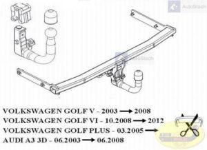 Hak holowniczy AUDI A3 3 drz. 06.2003 / 06.2008 Hak automatyczny wypinany pionowo