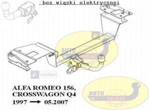 Hak holowniczy Alfa Romeo 156 4 drz. 1997 / 05.2003 Hak automatyczny wypinany poziomo