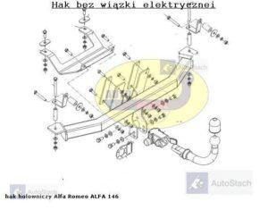 Hak holowniczy Alfa Romeo 146 5 drz. 1995 / 2001 automat wypinany poziomo