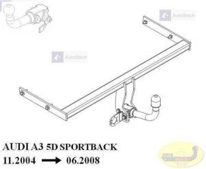 Hak holowniczy AUDI A3 5 drz. Sportback 11.2004 / 06.2008 Hak automatyczny wypinany poziomo