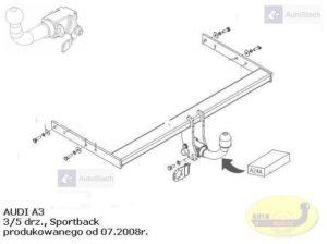 Hak holowniczy AUDI A3 3/5 drz. Sportback od 07.2008 Hak automatyczny wypinany poziomo