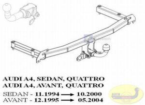 Hak holowniczy AUDI A4 B5 4 drz. Quattro 11.1994/10.2000 Hak automatyczny wypinany poziomo