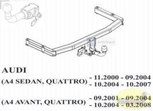 Hak holowniczy AUDI A4 B6 4 drz. Quattro 11.2000/09.2004 Hak automatyczny wypinany poziomo