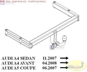 Hak holowniczy AUDI A4 B8 4 drz. od 11.2007