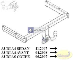 Hak holowniczy AUDI A4 B8 4 drz. od 11.2007 Hak automatyczny wypinany poziomo