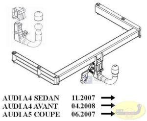Hak holowniczy AUDI A4 B8 4 drz. od 11.2007 hak automatyczny wypinany pionowo