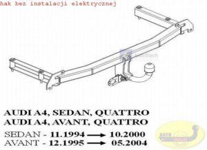 Hak holowniczy AUDI A4 B5 4 drz. Quattro 11.1994/10.2000