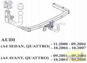 Hak holowniczy AUDI A4 B6 4 drz. Quattro 11.2000/09.2004 hak wypinany pionowo