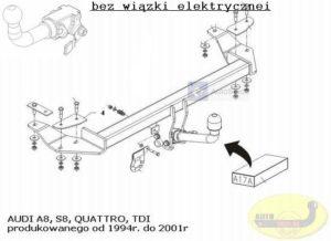 Hak holowniczy AUDI A8 S8 4 drz. Quattro, TDI, 1994/2001 AUTOMAT