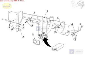 Hak holowniczy BMW seria 3 E 90, 4 drz. (oprócz 335i/335d) od 03.2005 Hak automatyczny wypinany poziomo