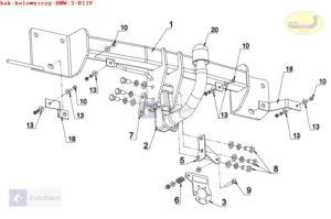Hak holowniczy BMW seria 3 E 91, Kombi od 10.2005 Hak automatyczny wypinany pionowo (zamykany na kluczyk)