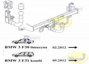 Hak holowniczy BMW 3 F 30, 4drz. od 02.2012 Hak automatyczny wypinany pionowo (zamykany na kluczyk)