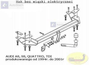 Hak holowniczy AUDI A8 S8 4 drz. Quattro, TDI, 1994/2001