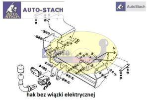 Hak holowniczy Alfa Romeo 147 3/5 drz. od 2000 Hak automatyczny wypinany poziomo