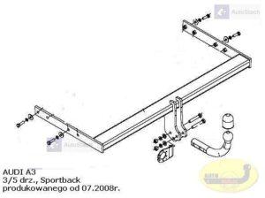 Hak holowniczy AUDI A3 3/5 drz. Sportback od 07.2008