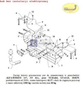 Hak holowniczy Alfa Romeo 147 3/5 drz. od 2000