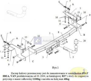 hak holowniczy FIAT IDEA VAN od 01.2004