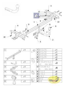 hak holowniczy FIAT 500L 5 drz. od 09.2012