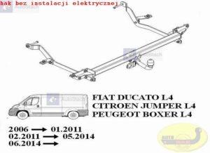 hak holowniczy FIAT DUCATO L4, L5 zabudowany-blaszak (dotyczy wiązki: bez czujników cofania) 06.2006 / 01.2011