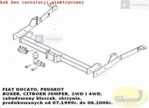 hak holowniczy FIAT DUCATO II zabudowany-blaszak, skrzynia, 4x4 07.1999 / 05.2006