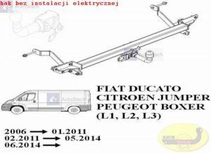 hak holowniczy FIAT DUCATO L1, L2, L3 AUTOMAT zabudowany-blaszak (dotyczy wiązki: bez czujników cofania) 06.2006 / 01.2011