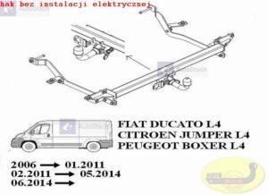 hak holowniczy FIAT DUCATO L4, L5 AUTOMAT zabudowany-blaszak (dotyczy wiązki: bez czujników cofania) 06.2006 / 01.2011