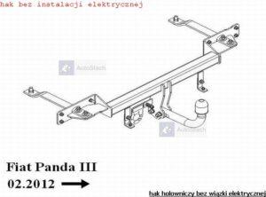 hak holowniczy FIAT PANDA III tylko 2 WD od 10.2012