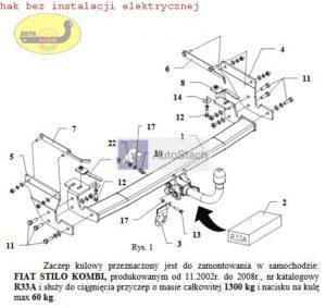 hak holowniczy FIAT STILO Kombi 11.2002 / 2008 AUTOMAT