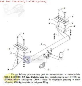 hak holowniczy FORD ESCORT 3/5 drz. Cabrio , poza 4x4 10.1992 / 12.1995 AUTOMAT