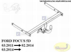 hak holowniczy FORD FOCUS III 5 drz. (Mk3) 03.2011 / 02.2014 poza ST AUTOMAT