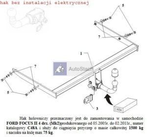 hak holowniczy FORD FOCUS II 4 drz. (Mk2) 05.2005 / 02.2011 AUTOMAT