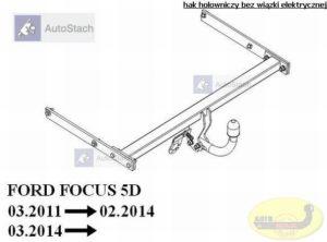 hak holowniczy FORD FOCUS III 5 drz. (Mk3) 03.2011 / 02.2014 poza ST