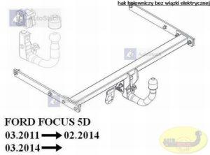hak holowniczy FORD FOCUS III 5 drz. (Mk3) 03.2011 / 02.2014 poza ST AUTOMAT VERTICAL