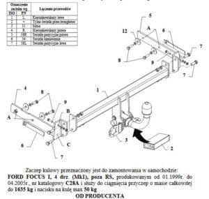 hak holowniczy FORD FOCUS I 4 drz. (Mk1) 01.1999 / 04.2005 poza RS AUTOMAT