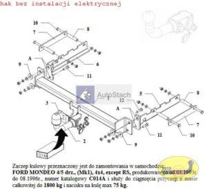 hak holowniczy FORD MONDEO 4/5 drz Mk1 też 4x4 , 03.1993 / 08.1996 poza RS AUTOMAT