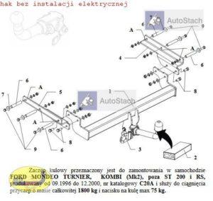hak holowniczy FORD MONDEO Kombi Mk2 09.1996 / 12.2000 poza ST 200 i RS AUTOMAT