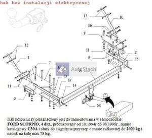 hak holowniczy FORD SCORPIO 4 drz. 10.1994 / 08.1998 AUTOMAT