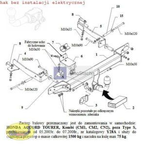 hak holowniczy HONDA ACCORD Kombi 05.2003 / 07.2008 (CM1, CM2, CN2), poza Type S AUTOMAT