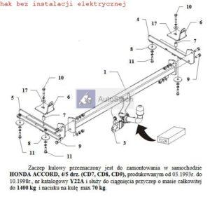 hak holowniczy HONDA ACCORD 4/5 drz. 03.1993 / 10.1998 (CD7, CD8 CD9) AUTOMAT