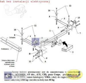 hak holowniczy HONDA ACCORD 4/5 drz. 11.1998 / 10.2002 (CG, CH), poza Coupe AUTOMAT